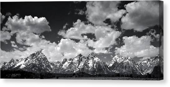 Grand Tetons Panorama In Monochrome Canvas Print