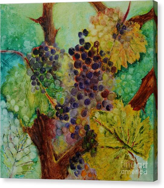 Grapes And Leaves V Canvas Print