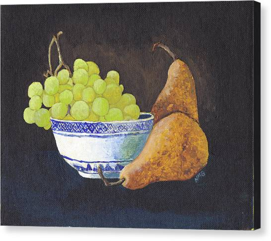 Grapes And Pears Canvas Print by Nicole Grattan