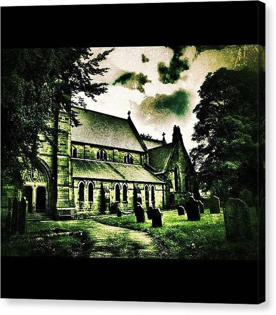 Horror Canvas Print - Graveyard #haunted #horror #church by Chris Barber