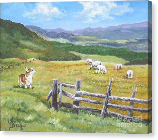 Grazing On Golden Fields Canvas Print by Ann Becker