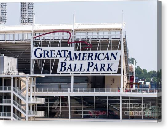 Cincinnati Reds Canvas Print - Great American Ball Park Sign In Cincinnati by Paul Velgos