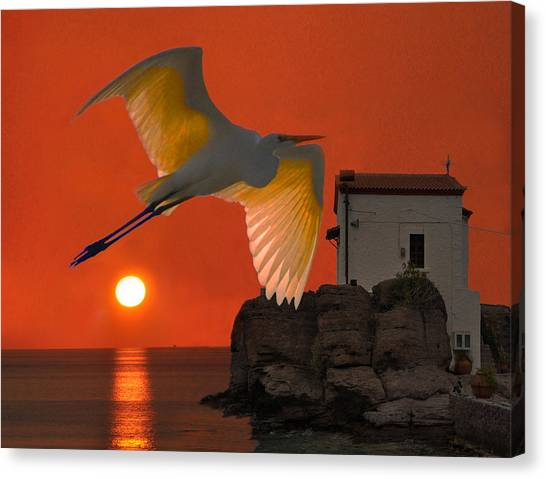 Canvas Print featuring the mixed media Great Egret Sunset In Skala by Eric Kempson