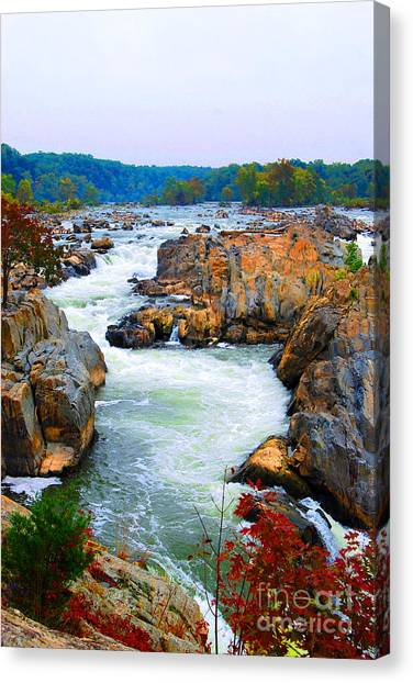 Great Falls On The Potomac River In Virginia Canvas Print
