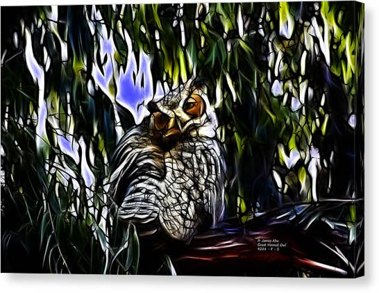 Great Horned Owl - 4228 - Fractal - S Canvas Print