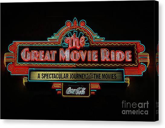 Great Movie Ride Neon Sign Hollywood Studios Walt Disney World Prints Poster Edges Canvas Print