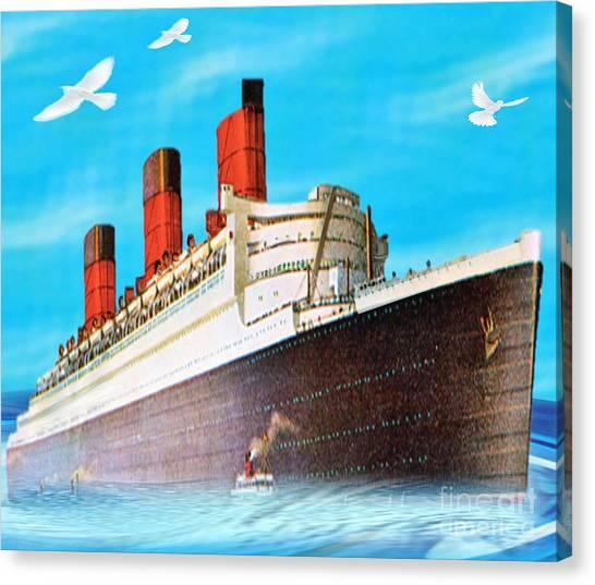 Great Ocean Liner Canvas Print by Belinda Threeths