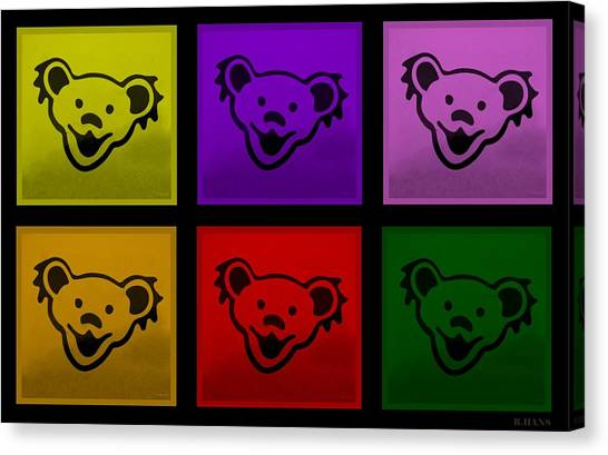 Greatful Dead Dancing Bears In Multi Colors Canvas Print