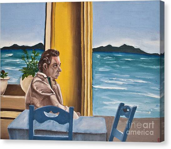 Coffee Plant Canvas Print - Greece - Man In Cafe by Cassandra Ronning