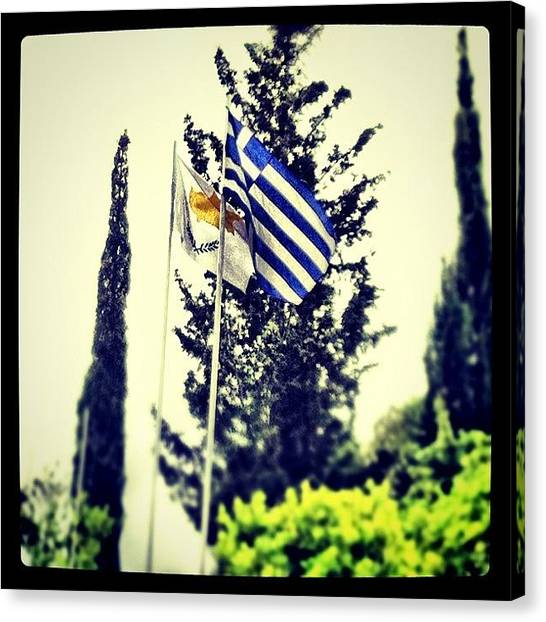 Greek Art Canvas Print - #greek #cyprus #flag #village #summer by Stacy Stylianou
