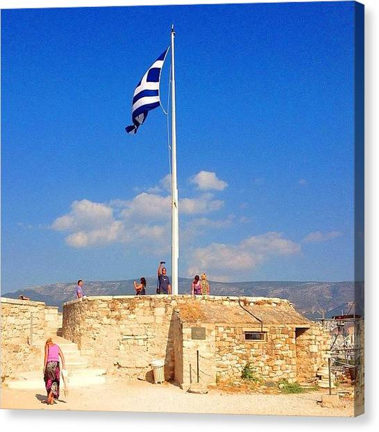 Greek Art Canvas Print - Greek Flag #greek #flag #acropolis by Dimitre Mihaylov