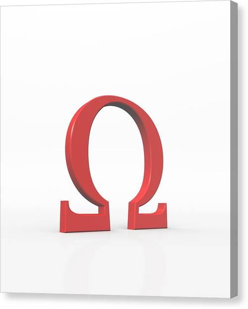 Greek Letter Omega, Upper Case Canvas Print by David Parker