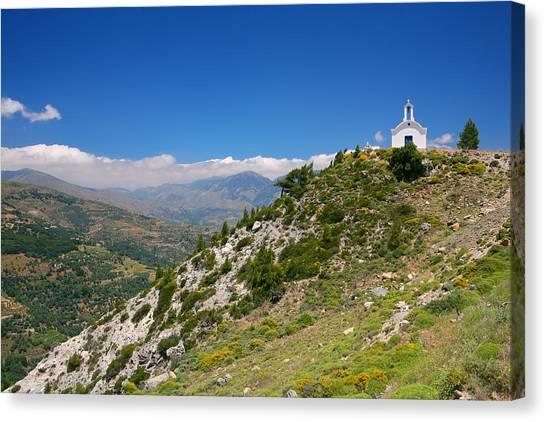 Greek Mountain Church Canvas Print
