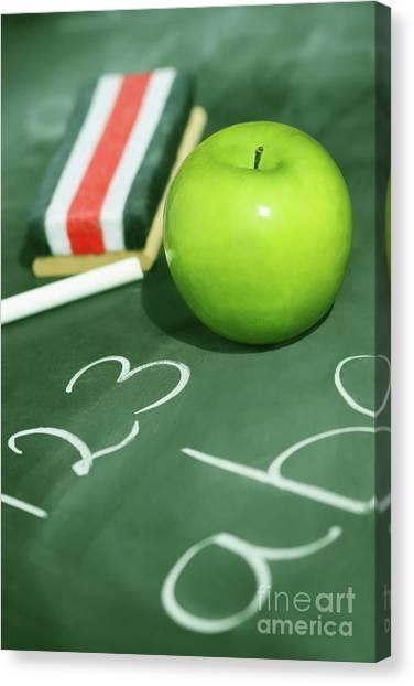 Elementary School Canvas Print - Green Apple For School by Sandra Cunningham