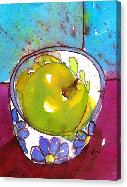 Green Apple In Blue Floral Bowl Canvas Print