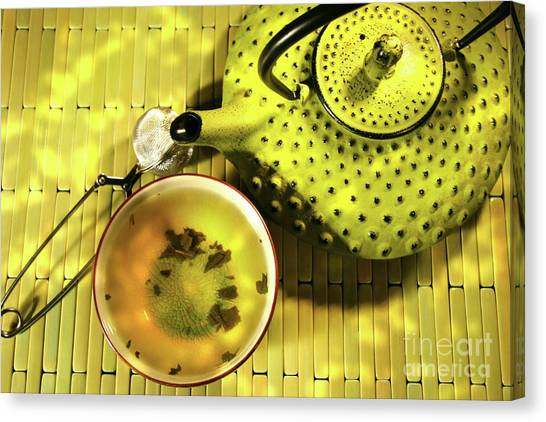 Sweet Tea Canvas Print - Green Asian Teapot With Cup  by Sandra Cunningham