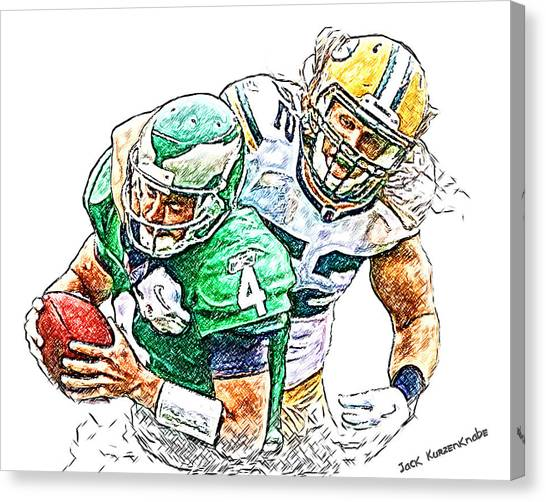 Clay Matthews Canvas Print - Green Bay Packers Clay Matthews And Philadelphia Eagles Kevin Kolb by Jack K