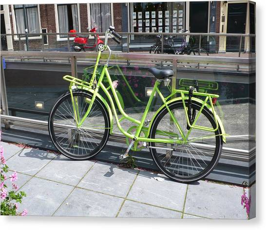 Green Bike Haarlem Holland Canvas Print by Gregory Smith