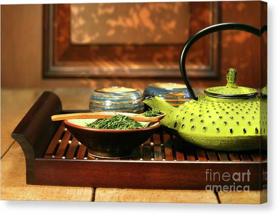Sweet Tea Canvas Print - Green Cast Iron Teapot by Sandra Cunningham