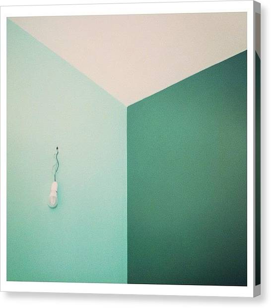 Angle Canvas Print - Green Geometry by Ann K