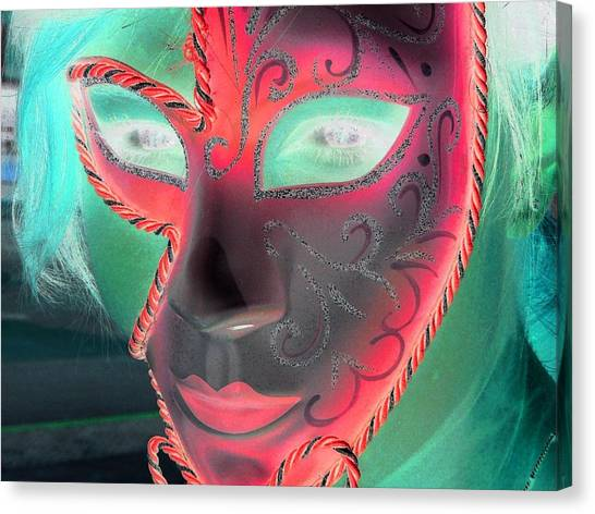 Green Girl With Red Mask Canvas Print