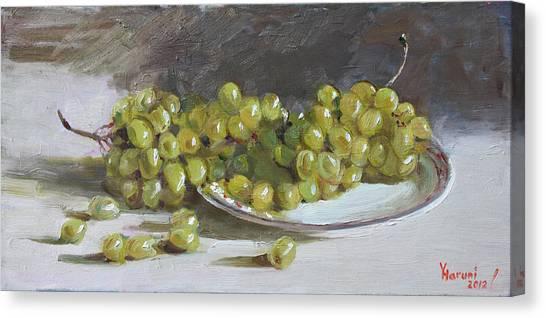 Grapes Canvas Print - Green Grapes  by Ylli Haruni
