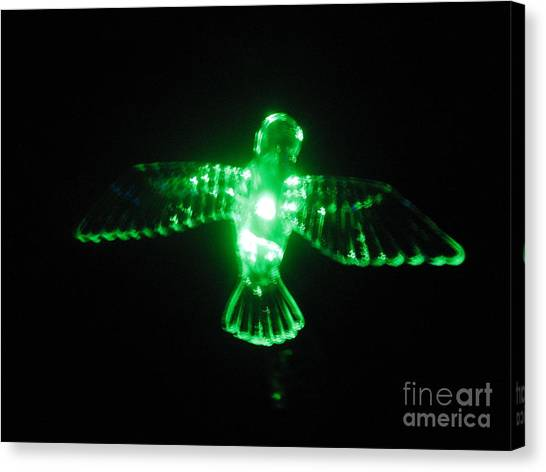 Green Neon In Flight Canvas Print