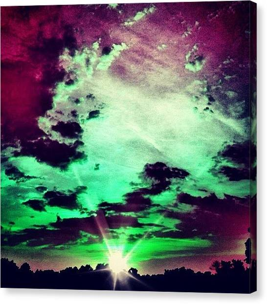 Purple Canvas Print - Green Purple by Katie Williams