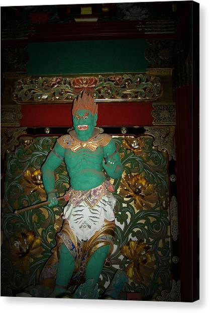 Monks Canvas Print - Green Sculpture by Naxart Studio