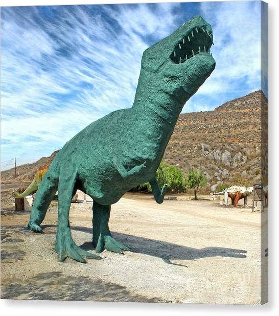 Green T-rex Canvas Print