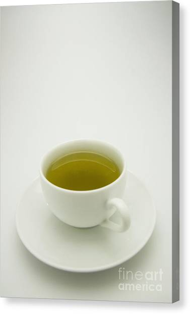 Tea Canvas Print - Green Tea In Teacup by Thom Gourley/Flatbread Images, LLC