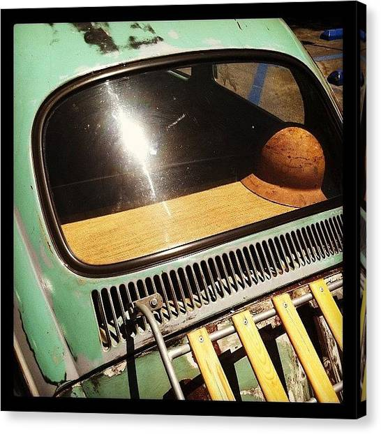 German Canvas Print - Green Vw by Gwyn Newcombe