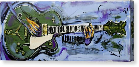 Canvas Print featuring the painting Gretsch Guitar by John Gibbs