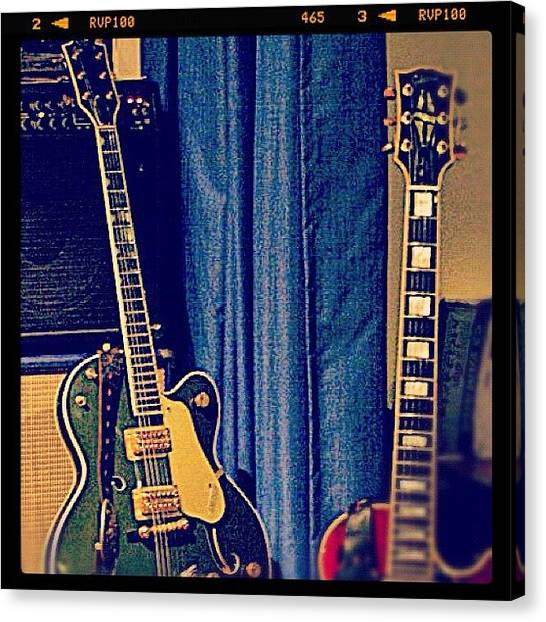 Guitars Canvas Print - #gretsch #guitar #rock #20likes by Toonster The Bold
