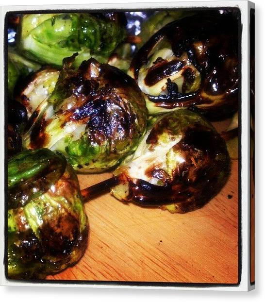 Grills Canvas Print - #grilled #brussle #sprouts by Alyson Schwartz