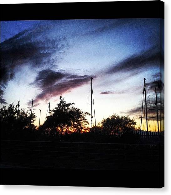 Yachts Canvas Print - #grimsby #yachtclub #sunset #silhouette by Emma Warrener