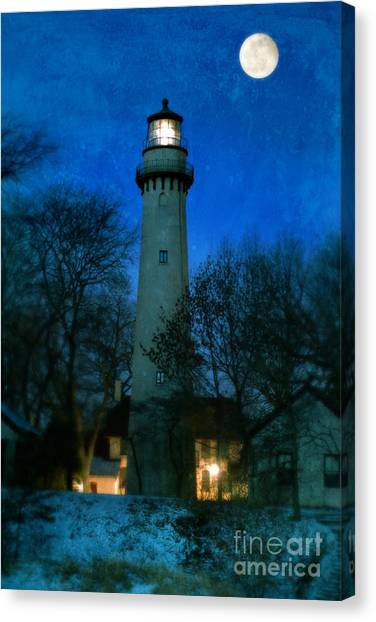 Grosse Point Lighthouse Before Dawn Canvas Print