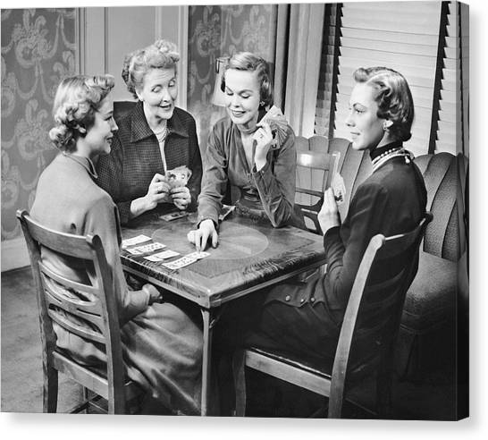 Group Of Women Playing Cards Canvas Print by George Marks