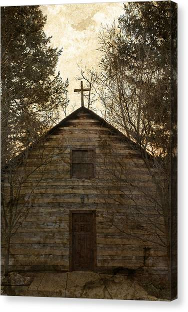 Grungy Hand Hewn Log Chapel Canvas Print