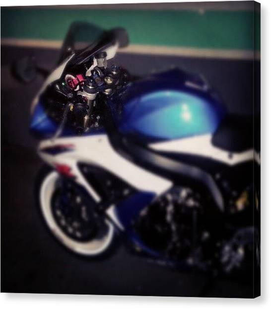 Racing Canvas Print - #gsxr600 #suzuki #gsxr #motorcycle by Ricard Gutavson