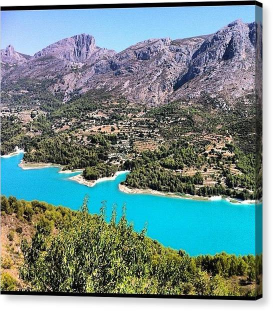 Turquoise Canvas Print - Guadalest. #costablanca #lakes by Jo Shaw