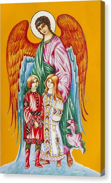 Guardian Angel For Children Canvas Print