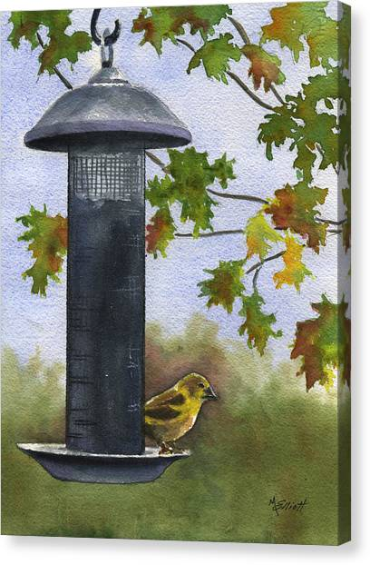 Finches Canvas Print - Guarding The Loot by Marsha Elliott