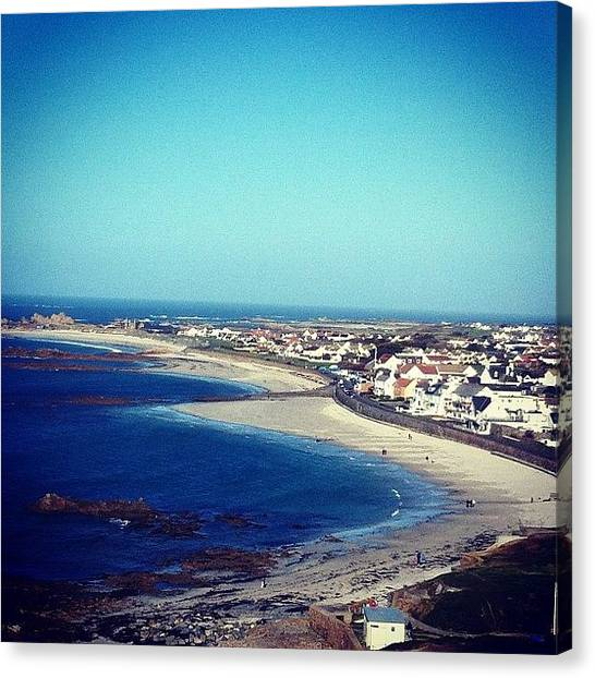 Pub Canvas Print - #guernsey #cobo #beach #pub #summer by Andy Brown