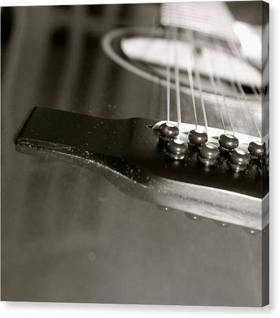 String Instrument Canvas Print - guitar close up in BW by Justin Connor