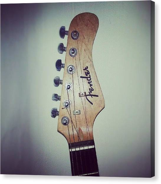 Fender Guitars Canvas Print - #guitar #fender #stratocaster #strat by Hassaan Shahid