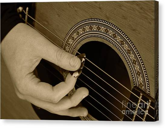 Guitar Picks Canvas Print - Guitar Picking Sepia by Michael Waters