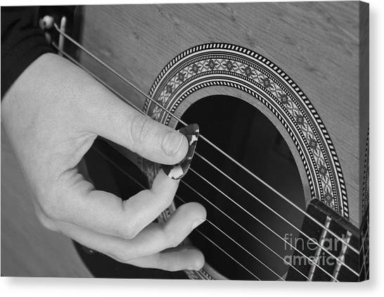 Guitar Picks Canvas Print - Guitar Playing Black And White by Michael Waters