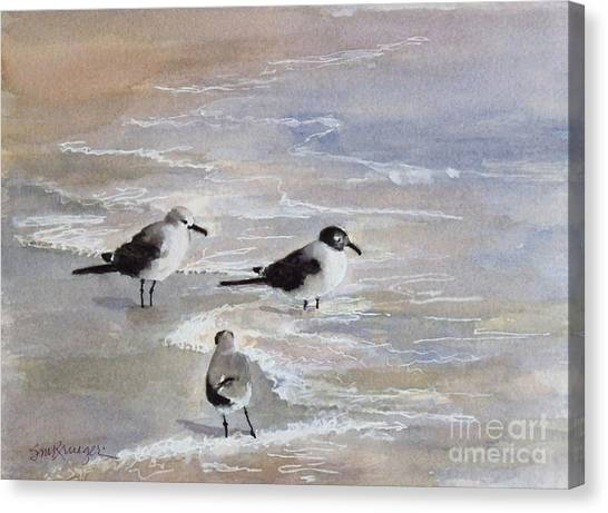 Gulls On The Beach Canvas Print