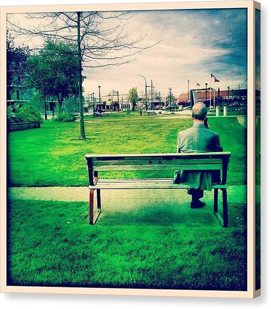 Yen Canvas Print - #guy #old #man #sit #bench #grass #chill by Kee Yen Yeo
